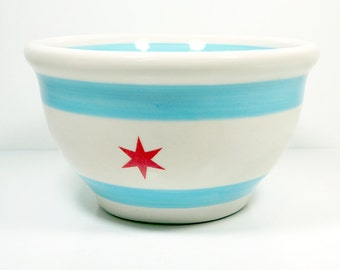 A Medium Sized Bowl in the Chicago Flag design - The ideal size for serving a party of 4