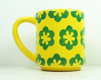 15oz coffee mug/tea mug with the Patience all-over pattern, shown here in Lemon Butter glaze. READY TO SHIP