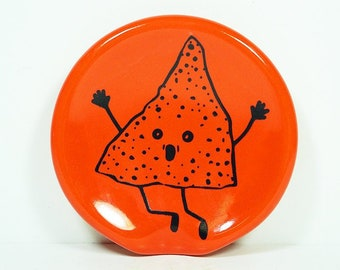 handle-less spoon rest / spoon dish w/the Overly Enthusiastic Nacho Chip print shown on Clementine. Pick Your Color/Pick Your Print