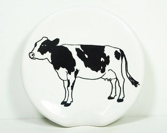 handle-less spoon rest / spoon dish with a Holstein Cow print shown on White. Pick Your Color/Pick Your Print