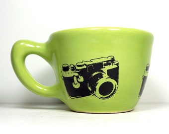 12oz cup/mug w/ a Leica Camera print, shown here in Tinda glaze - Pick Your Color / Pick Your Print