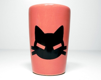 itty bitty cylinder with a bad kitty print shown here on Bubblegum Pink glaze - Made to Order / Pick Your Color