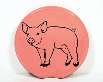 handle-less spoon rest / spoon dish with a Piggy print shown on Bubblegum Pink. Pick Your Color/Pick Your Print