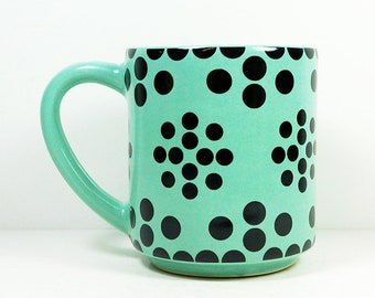 STACKABLE 15oz coffee mug/tea mug with the Fiona all-over pattern, shown here in Blue Green glaze. Made to Order.