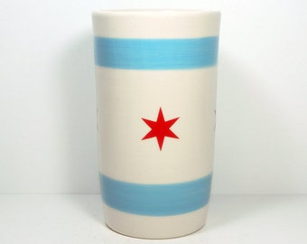 Cylinder Vase / Utensil Holder / Utensil Crock with the Chicago Flag motif - Made in Chicago, and always a winner for a guy gift