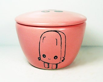 a lidded bowl / jar with a Sassy Popsicle food print shown here on a Bubblegum glaze - Made to Order/ Pick Your Color / Pick Your Print