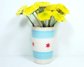 Itty Bitty Cylinder featuring the Chicago Flag design - Adorable for a Bud Vase, Pencils Holder, Wine (really!)