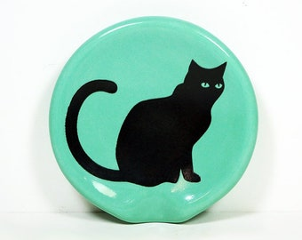 handle-less spoon rest / spoon dish with a Black Cat print shown on Blue Green Mint. Pick Your Color/Pick Your Print