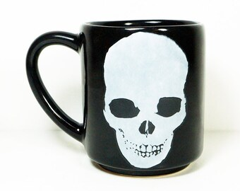 STACKABLE 15oz coffee mug/tea mug with giant badass White Dark Skull on both sides, shown here in Blackest Black glaze. Ready to Ship.