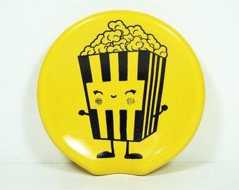 handle-less spoon rest / spoon dish with a Happy Popcorn print shown on Lemon Butter Yellow. Pick Your Color/Pick Your Print