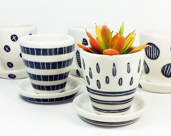 NEW. A Selection of Small Batch Planters for your cutest littlest plants, simply finished in Black & White carved motifs