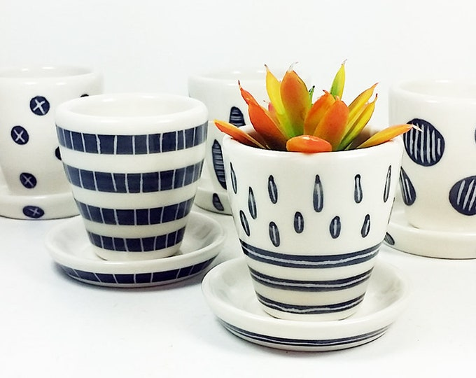 Featured listing image: NEW. A Selection of Small Batch Planters for your cutest littlest plants, simply finished in Black & White carved motifs