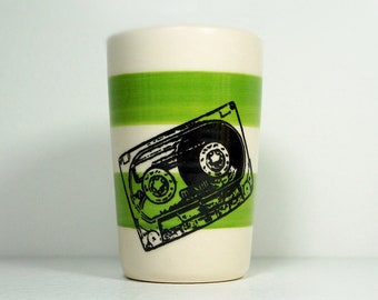 itty bitty cylinder / vase / cup with a Mixtape cassette print on Leaf Green stripes, Made to Order / Pick Your Color