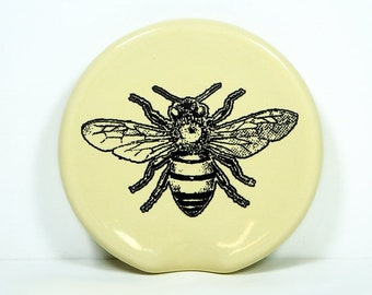 handle-less spoon rest / spoon dish with a Honey Bee print shown on Buttercream. Pick Your Color/Pick Your Print