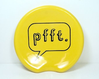 "handle-less spoon rest / spoon dish with a ""pfft."" word bubble print on Lemon Butter Yellow. Made to Order/Pick Your Color/Pick Your Print"