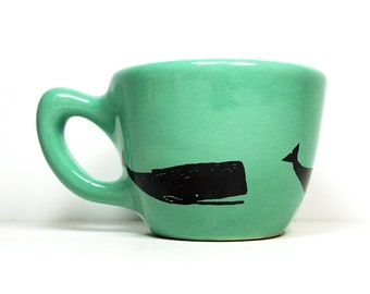 12oz cup with the animal of your choice, shown here with a whale print on mint blue green glaze - Pick Your Color / Pick Your Print