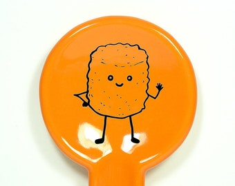 A Spoon Rest Mr. T. Tot, waving hello.  Pick Your Color/Pick Your Print