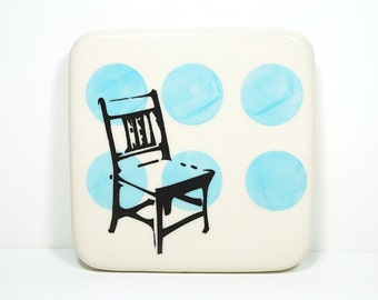 tile of a wooden chair on sky blue polkadots, made to order / pick your colour