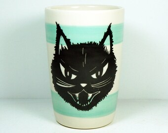 18oz tumbler with Kitty Black Cat prints, here on a two Blue Green bands, READY TO GO