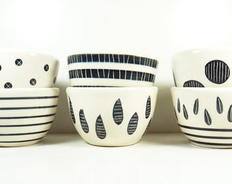 NEW, for Fall, a SET of 6 cereal/soup/ice cream Bowls simply finished in Black & White carved + painted motifs.