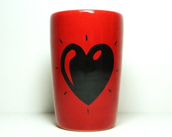 18oz smoothies/coffee/beer/water tumbler or vase with a Heart Throb print shown here on Berry Red. Pick Your Color/Pick Your Print