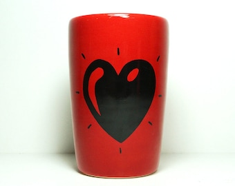 18oz smoothies/coffee/beer/water tumbler or vase with a Heart Throb print shown here on Berry Red. Made to Order.