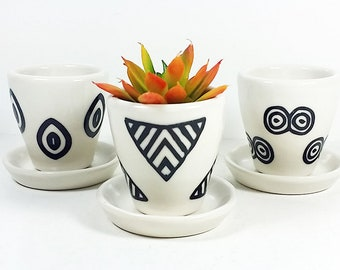 NEW. Small Batch Planters for your cute little plants, simply finished in Black & White hand-screenprinted motifs