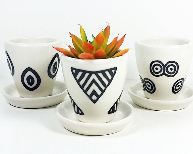 Featured listing image: NEW. Small Batch Planters for your cute little plants, simply finished in Black & White hand-screenprinted motifs - Made to Order