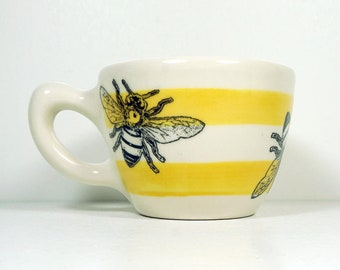 12oz Cup/Mug with a Honey Bee print, shown here on Lemon Butter stripes. Pick Your Color/Pick Your Print
