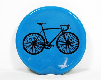 handle-less spoon rest/spoon dish w/a Road Bike Cycling print shown on Lake Blue. Pick Your Color/Pick Your Print