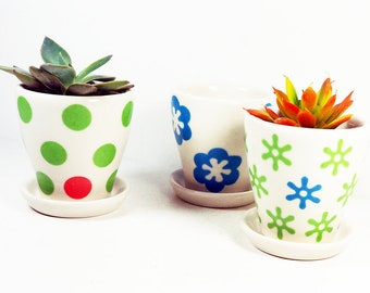 NEW. Adorable selection of Small Batch Cappa Planters for your cutest small plants, with colorful design motifs
