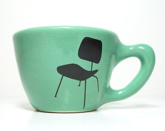 12oz cup/mug with Eames Chair prints, shown here on Blue Green glaze. Made to Order / Pick Your Color
