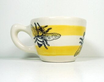 12oz cup with a Honey Bee print, shown here on Lemon Butter stripes - Made to Order/Pick Your Color/Pick Your Print