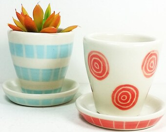 NEW. Small Batch Planters for your cute little plants, simply finished in colorful carved motifs - Ready to Ship