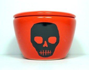 a lidded bowl / jar with a Voodoo Skull print shown here on a Clementine orange glaze - Made to Order/ Pick Your Color / Pick Your Print