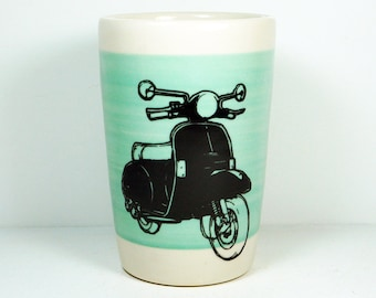 18oz tumbler with a Vespa scooter on a wide band of Blue Green, READY TO SHIP