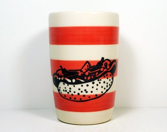 18oz smoothies/coffee/beer/water tumbler or vase featuring a Chicago Hot Dog print on Red-Orange stripes.  Pick Your Color/Pick Your Print
