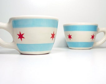 one (1) super rad 12oz cup/mug with the Chicago Flag design. Made to Order.