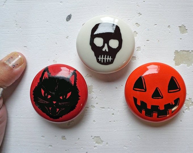 Featured listing image: Halloween Magnets, Fall decor for your home, office, dorm, with Kitty Cat Black, Voodoo Skull and NEW Jack O'Lantern