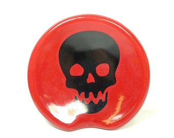 handle-less spoon rest / spoon dish with a Scooby Skull print shown on Berry Red. Pick Your Color/Pick Your Print