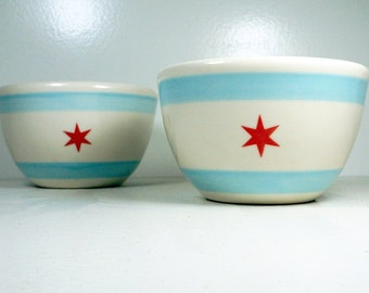Chicago Flag design 16oz bowl for cereal-oatmeal-chili-soup-triple scoop ice cream. Made to Order.