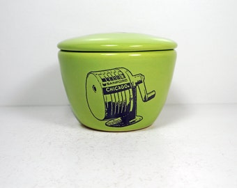 a lidded bowl/jar with a Chicago Pencil Sharpener print shown here on Tinda green glaze - Made to Order/ Pick Your Colour / Pick Your Print