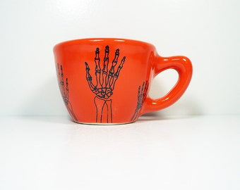 12oz cup with bony las manos (hands)print, shown here on clementine glaze - Made to Order/ Pick Your Colour