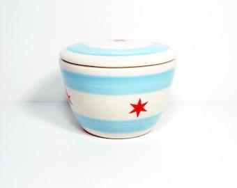 lidded bowl chicago flag. Made to Order.