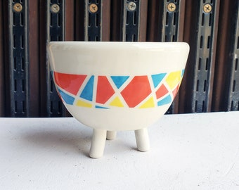 A 3 Legged Planter for your lovely small plant, with narrow Kaleidoscope design - Ready to Ship.