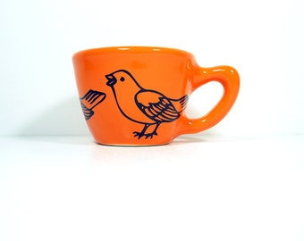 12oz cup with a sparrow print, shown here on creamsicle glaze - Made to Order/ Pick Your Colour