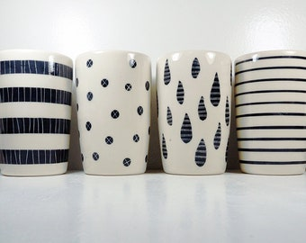 NEW. A Sweet Modern selection of 18oz tumblers/vases w/carved designs in Black & White perfect for Fall/Winter housewarming and entertaining