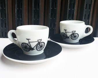Ancap Espresso cup & saucer set of 2, with our Road Bike prints.