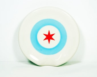 Handle-less Spoon Rest / Spoon Dish decorated with a Chicago Flag motif - Not just for cooking spoons, also for tea/coffee spoons, candles,