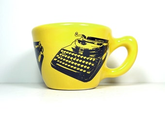 12oz cup with an Olivetti Typewriter print, shown here on Lemon Butter Yellow glaze - Made to Order/Pick Your Color/Pick Your Print